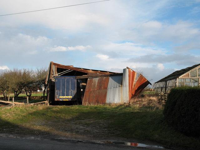Gale damaged barn, Norton le Clay