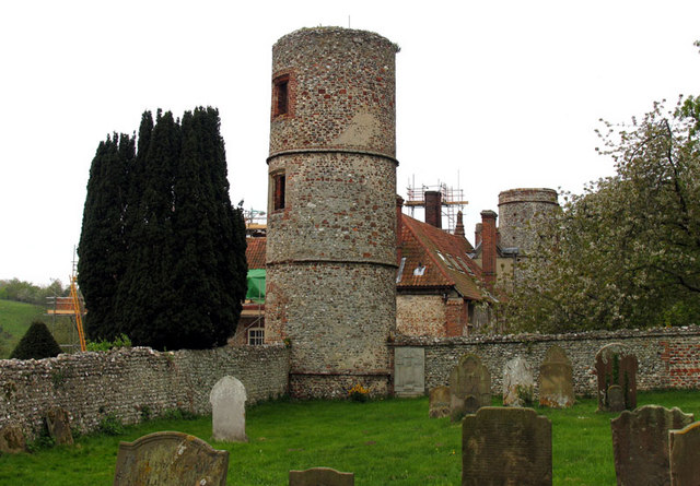 Towers of Stiffkey Hall, Stiffkey, Norfolk