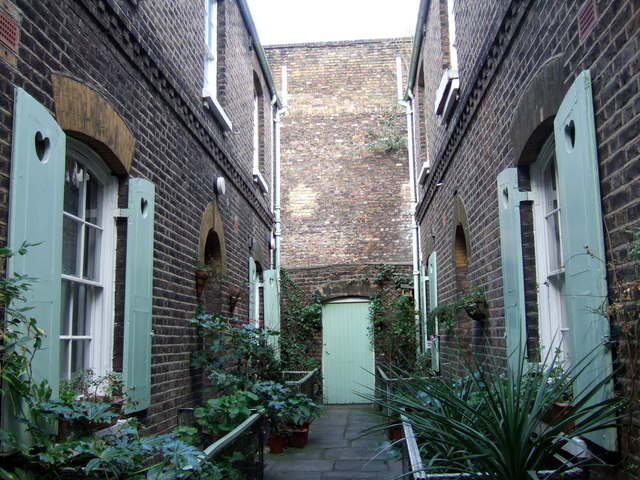 Norton Folgate almshouses in Puma Court