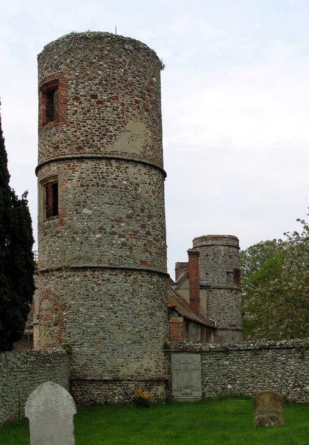 Towers of Stiffkey Hall, Stiffkey, Norfolk