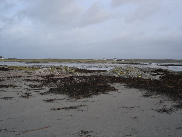 View from Carsamull across the newly exposed sand to Brock