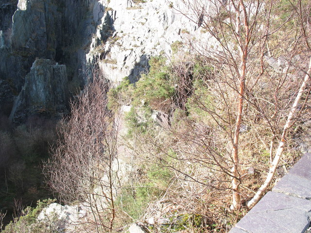 Looking down into the lower pit of Upper Glynrhonwy Quarry