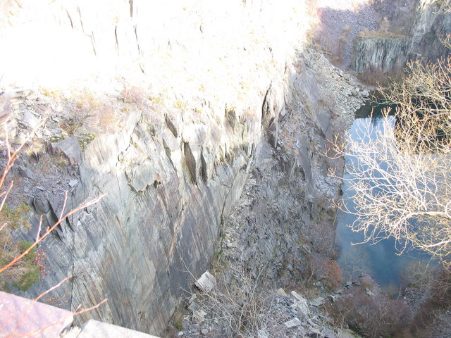 Looking down into the flooded upper pit of Lower Glynrhonwy Quarry