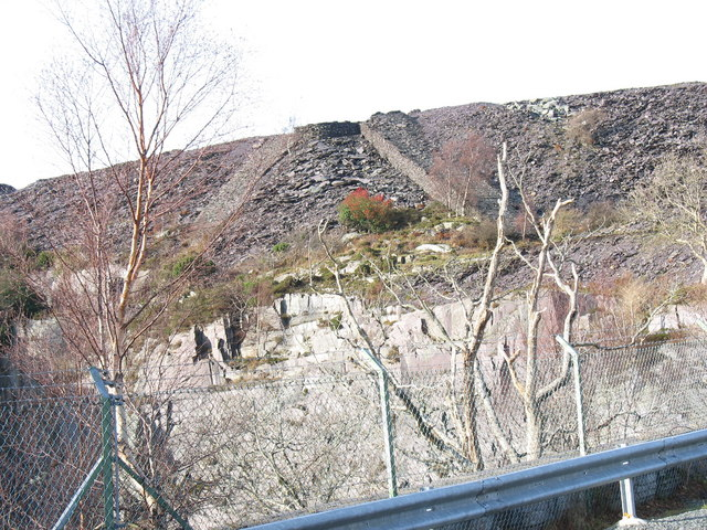 Two old internal inclines above the lower pit of Upper Glynrhonwy Quarry