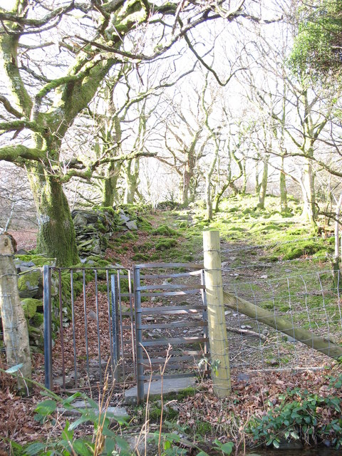 Modern kissing gate and woodland footpath
