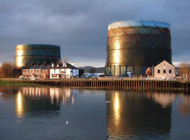 Gasometers across the Exe