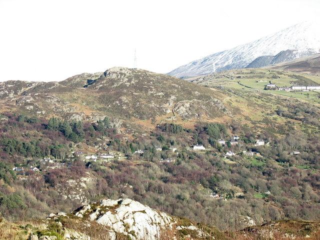 The hamlet of Fachwen from Glynrhonwy