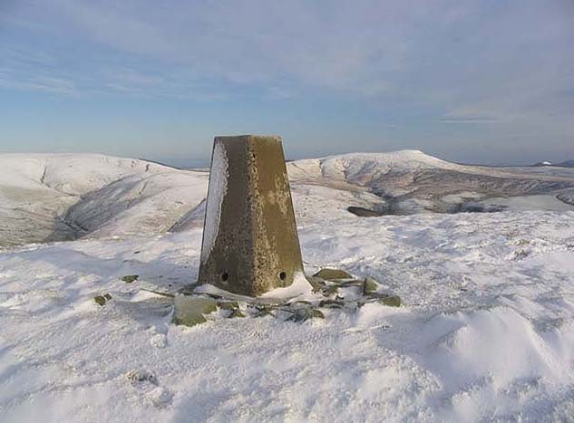 The trig point on Din Fell