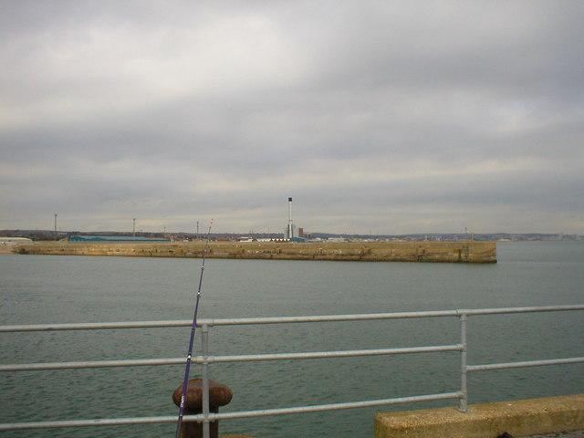Southwick harbour arm.Breakwater.