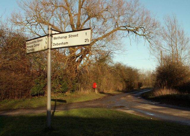 Signpost at White Horse Corner