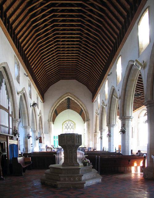 St Mary, Stalham, Norfolk - East end & font