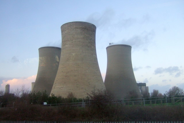 Cooling towers at dusk