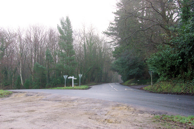 Junction of B2110 with Ladies Mile