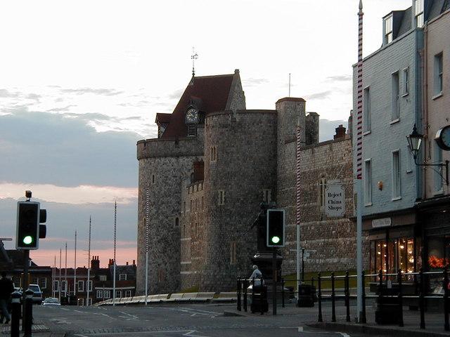 Curfew Tower, Windsor, at dusk