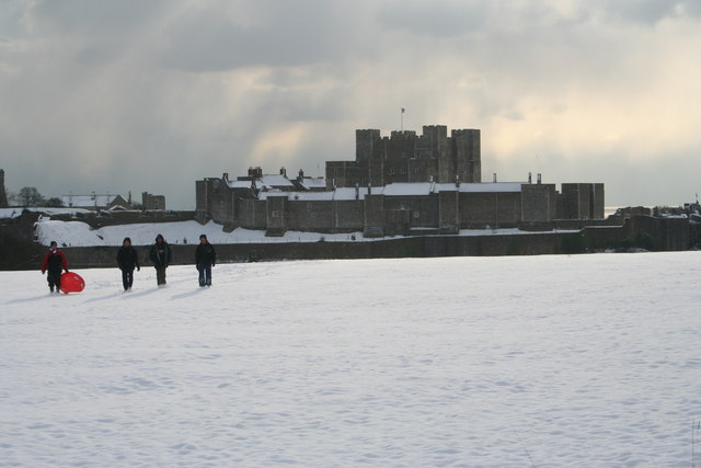 Dover castle in the snow