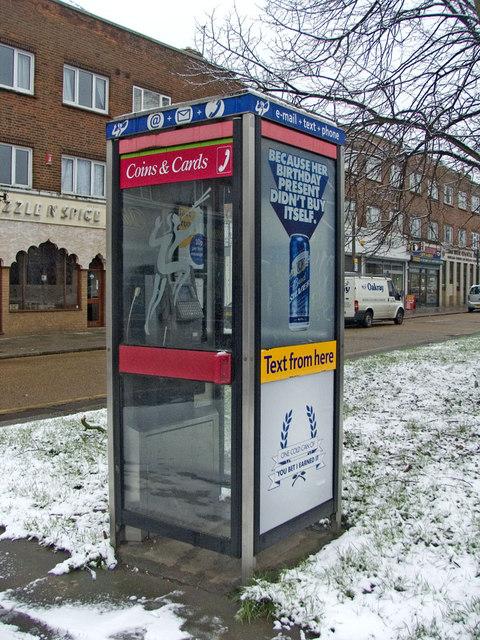 Modern Telephone Box at Oakwood Shopping Centre, N14