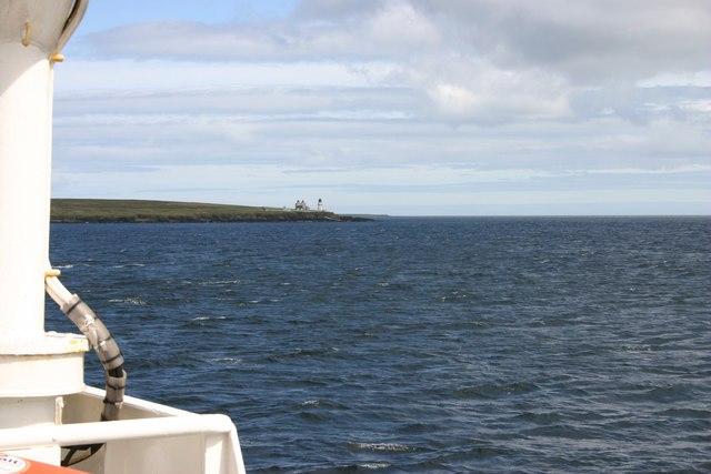 Saeva Ness lighthouse from Shapinsay Ferry