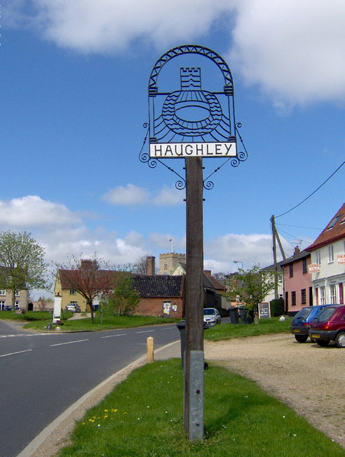 Haughley village centre and sign