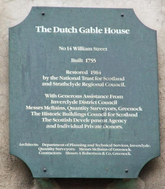 Plaque at Dutch Gable House