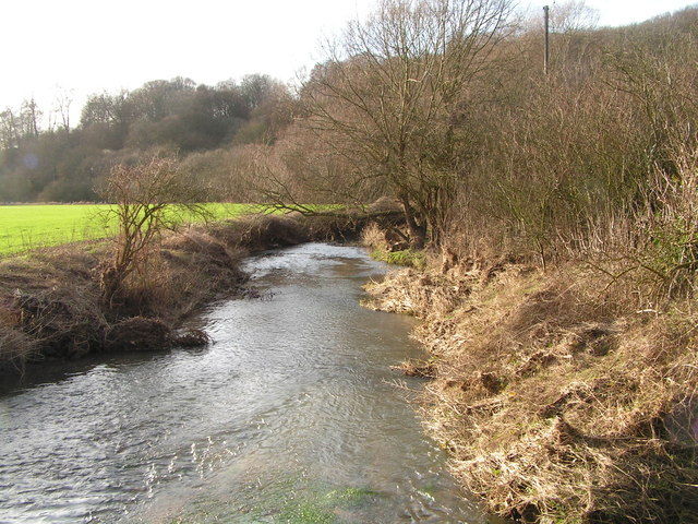 River Rib taken from footbridge beside Hanging Wood Ford