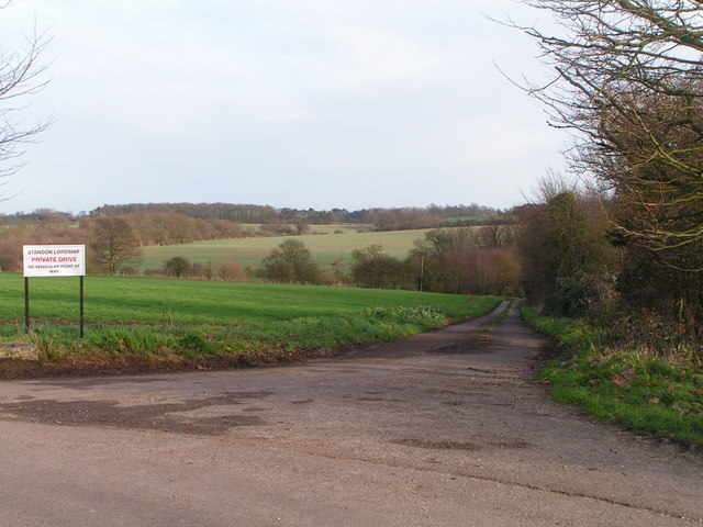 Private lane leading to Standon Lordship