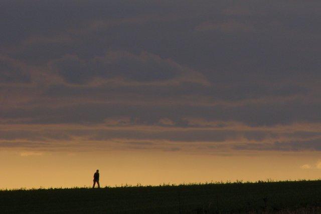 Lone walker on Warren Lane, Longwood Warren