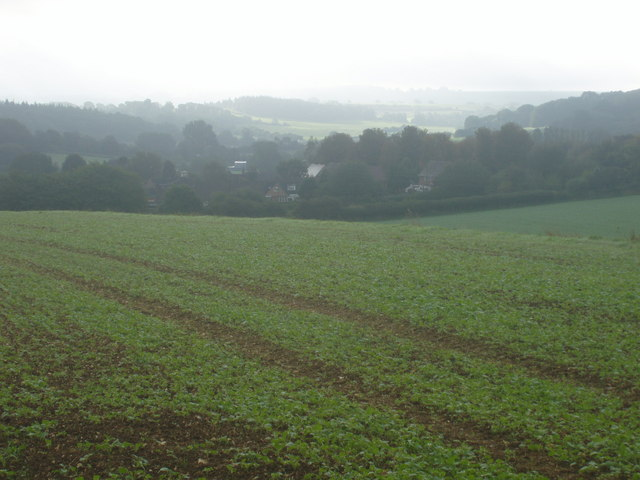 Great Bedwyn seen from the edge of Chisbury Woods