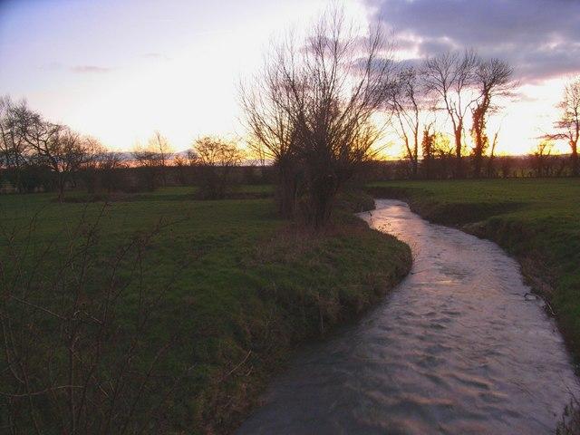 Brook at sunset