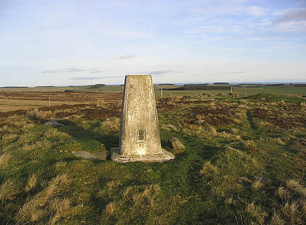 The trig point on Eglingham Moor