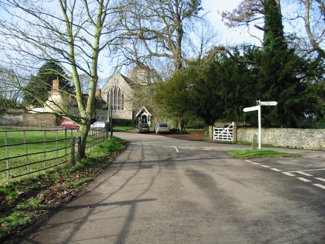 Bishopsbourne church and road junction.