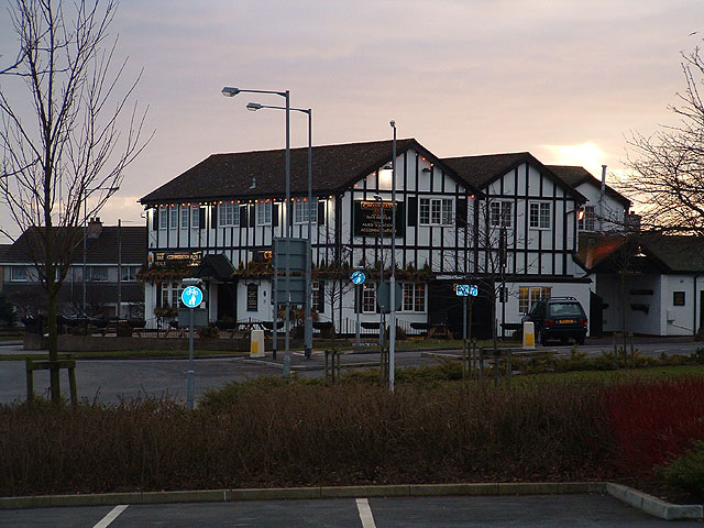 The Crossways Inn, Gretna, at dusk
