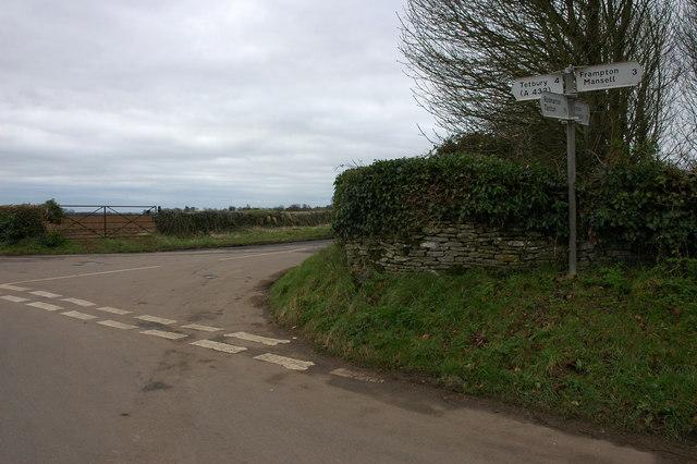 Road junction in Rodmarton