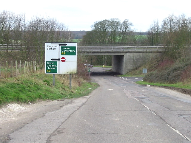 Coldharbour Lane as it passes under the A2.