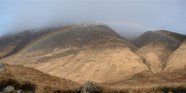 Rainbow and Buachaille Etive Mor from Glen Etive
