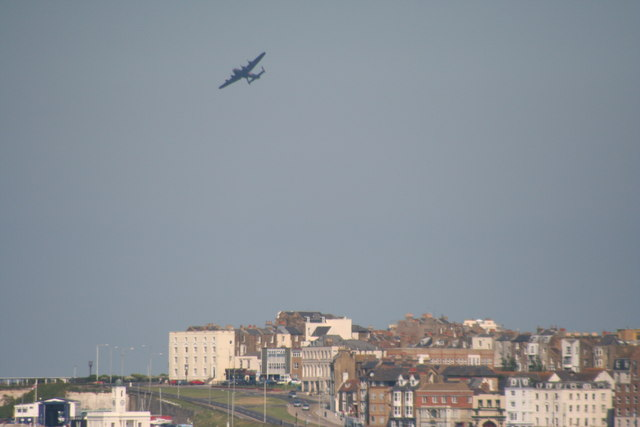 Lancaster Bomber over Margate Harbour