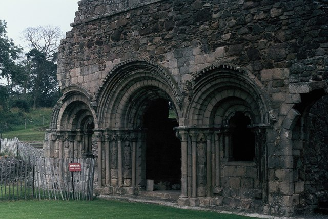 Ornate Norman arches at Haughmond Abbey