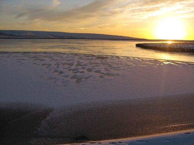 Partially frozen Blackmoss Reservoir
