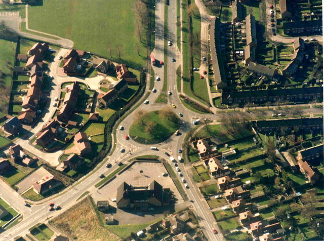 Aerial view of Ganstead Roundabout