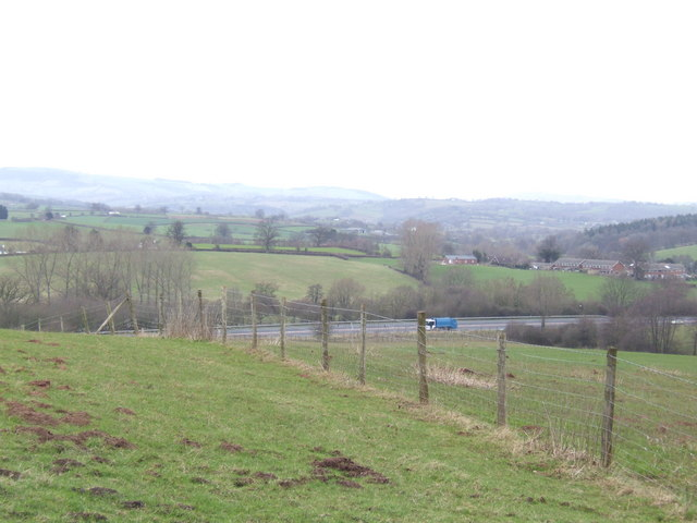 Over the fields to the A40/A449