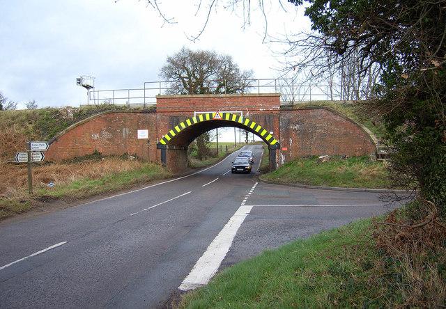 Railway Bridge/Road Junction near Coton