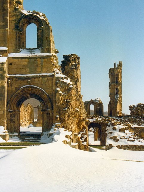 Byland Abbey in the snow.