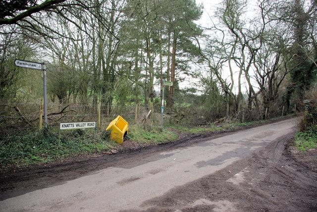 Junction of Knatts Valley Road and Hills Lane