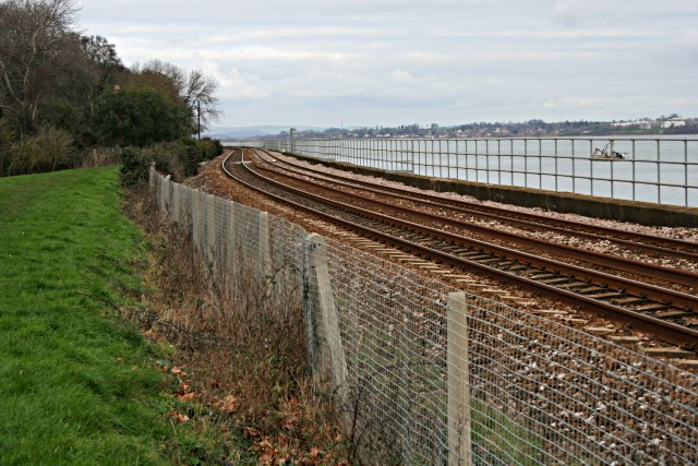 Railway along the side of the Exe Estuary