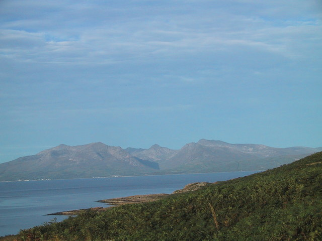 Towards Arran from the ridge west of Glencallum Bay