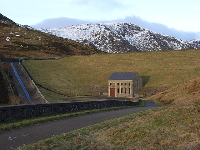 The dam and control house, Loch Turret