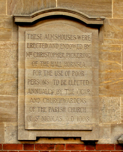 Pickering Almshouses, Hornsea - Plaque