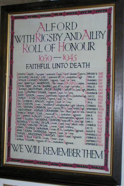 Roll of Honour for Alford, with Rigsby & Aliby: 1939-1945