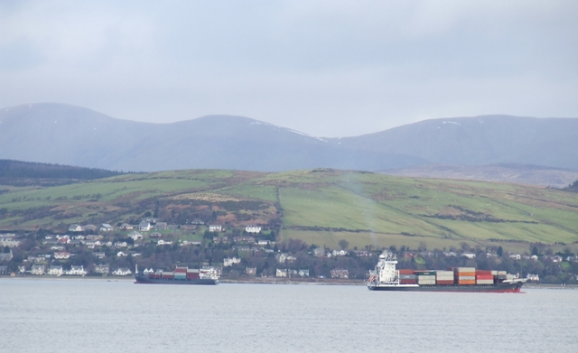 Container ships in the Clyde off Kilcreggan