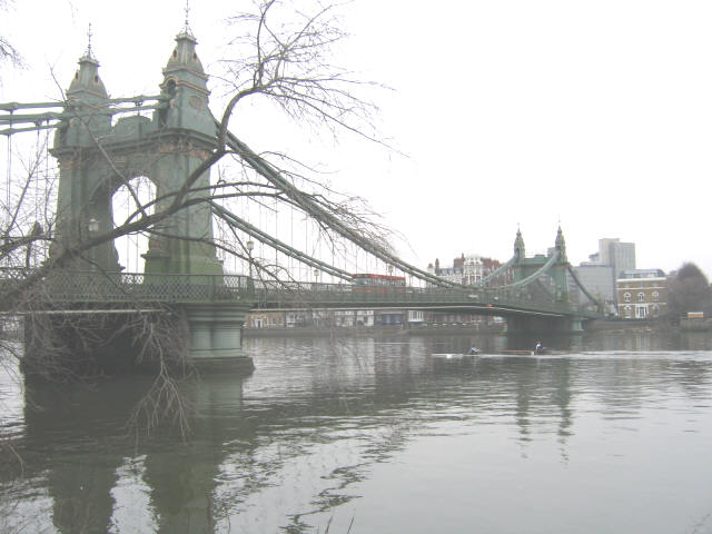 Rowers under Hammersmith Bridge