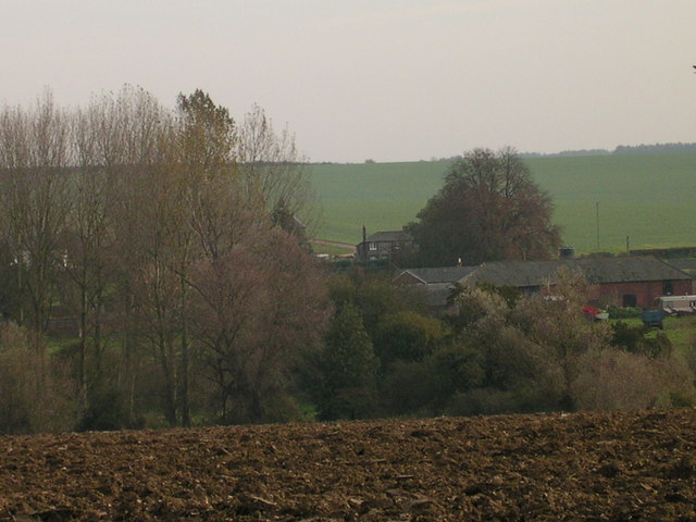 Ploughed earth above Barham Hall Cottages